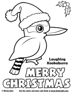 Birdorable Laughing Kookaburra Merry Christmas Coloring Page