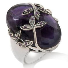 Statements by Amy Kahn Russell Amethyst Sterling Silver Floral Ring Size 8 #StatementsbyAmyKahnRussell #Cocktail #hsn