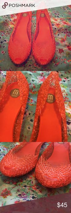 Melissa jelly open toe flats Sweet smelling open toe by Melissa jelly flats- very comfortable! Worn once Melissa Shoes Flats & Loafers