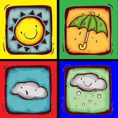 rodem a l'aula: QUIN TEMPS FA? Earth Science Activities, Activities For Kids, Weather Unit, File Folder Games, 1st Grade Worksheets, Space Theme, Preschool Learning, Kindergarten, Clip Art