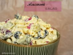 Recipe-->http://realhousemoms.com/macaroni-salad/
