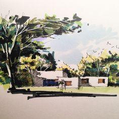 篮球还有反转剧…心塞… #drawing #sketches #urbansketch #landscapedrawing #arch_more…