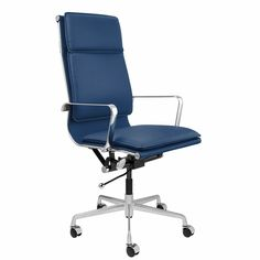 Lexi Tall Back Soft Pad Office Chair (Blue) Cool Chairs, Blue Chairs, Mid Century Design, Desk Chair, Steel Frame, Chair Design, Mid-century Modern, Office Chairs, Doll