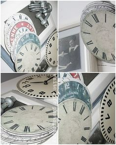 Recycle old CDs: Free printable clock faces to mod podge onto old CDs