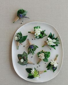 Rustic Boutonnieres with Wildflowers | Photo: Kate Headley Photography.