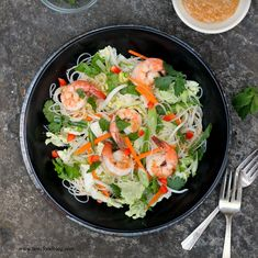 Shrimp and Rice Noodle Salad with Peanut Lime Sauce