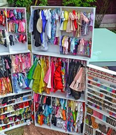 Some more wardrobe ideas. I covered the shoe storage with plexiglass held on with magnets. Barbie Storage, Doll Storage, Clothes Storage, American Girl Doll Room, American Girl Storage, Doll Clothes Barbie, Barbie Dress, Child Doll, Girl Dolls