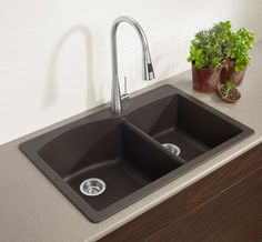 This brown Blanco sink is made from 80% natural granite. Get all the details here: http://www.lowes.ca/products/view.aspx?sku=10619024.