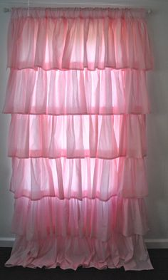 Pink Cotton Ruffled Curtain by PaulaAndErika on Etsy Ruffle Curtains, Curtains For Sale, Long Ties, Bed Pillows, New Homes, Trending Outfits, Handmade Gifts, Pink, Cotton