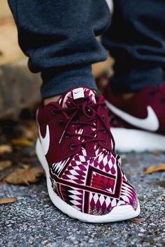 Maroon and Aztec Print Nike Roshe