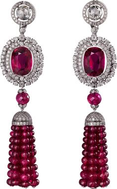 Cartier - Pendants d'Oreilles 'Reine Makéda' - Diamants et Rubis
