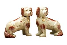 Pair of Perky Pups, Brown/Ivory