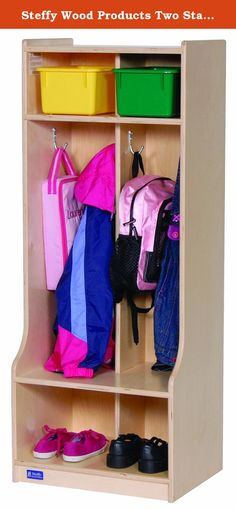 """Steffy Wood Products Two Station Locker. Two section locker has a front step for tying shoes or can be used as a seat. Includes 4 coat hooks. Unit is 12"""" deep at top."""