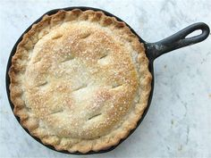Anytime Peach Pie – baking in a cast iron pan gives this pie extra PANache!
