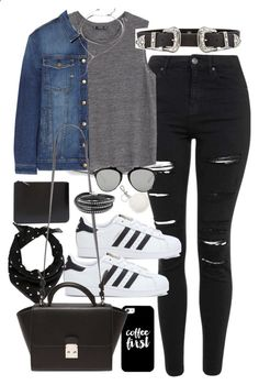 Outfit for university with a western belt and superstars by ferned ❤ liked on Polyvore featuring Topshop, MANGO, Current/Elliott, adidas, Casetify, Yves Saint Laurent, Comme des Garçons, B-Low the Belt, Forever 21 and Christian Dior