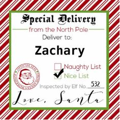 Personalized christmas morning gift tags printable north pole its a sticker from santa himself personalized with your childs name and stamped with santas negle Choice Image