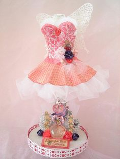 The Sugar Plum Fairy dress form! My 2nd altered dress form using the beautiful Nutcracker Sweet papers from Graphic 45!
