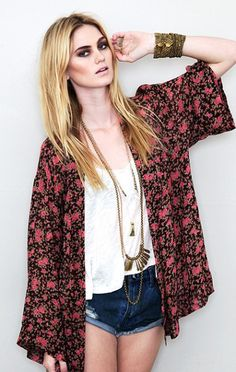 Blu Moon Kimono Jacket in Black - Lyst
