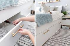 38 Trendy Ideas For Bedroom Wardrobe Bed Ikea Hacks Small Bedroom Storage, Bed Storage, Storage Hacks, Small Bedrooms, Ikea Storage Bed Hack, Storage Ideas, Extra Storage, Storage Drawers, Storage Solutions