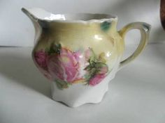 These old creamers are so beautiful. I hate to part with them. But I have to- so if you appreciate the beauty of a hand painted Bavarian Style creamer- here's your opportunity to own one that is chip free, and in excellent condition. Bavarian Cream, Milk Jugs, Antique Glassware, Sell On Etsy, Pretty In Pink, Tea Time, Latte, Opportunity, Pots