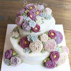 전통 돌상에 올라갈 떡 케이크라 진한 색감으로^^ 꽃피는봄날 케이크, BOMNAL CAKE…