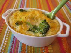 Veggie Casserole - onion, broccoli, corn, brown rice, milk, cheddar and a bit of butter or oil