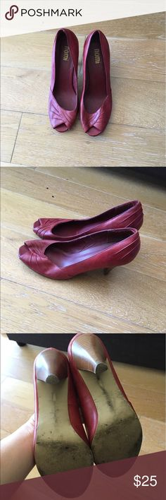 Red Nomi vintage style heels. Size 8.5 Red leather upper, 3.5 inch heel. Gently worn. nomi Shoes Heels