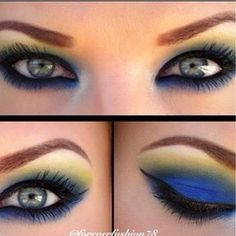 Blue and yellow eyeshadow
