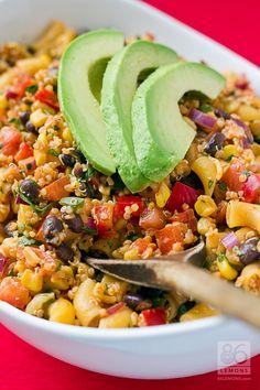 Uh yes please.  This looks like it puts my taco salad to shame.  Southwestern Quinoa Pasta Salad (vegan, gf)