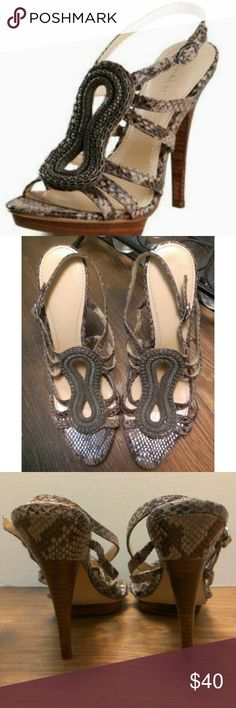 """Calvin Klein Perla Sandals Size 10 These gorgeous sandals are in great condition. I really wish they were my size.  My home is smoke-free and pet free.  Check out other items in my closet and the discount. Heel Height:5"""" Platform:1/2""""  I consider all offers.  Happy POSHING! 000108440 Calvin Klein Shoes"""