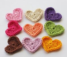 Crochet Hearts - i want the pink ones and some red ones for my bedroom!