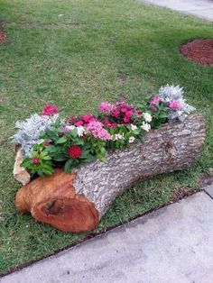 Fallen tree trunks here and there are great materials for nature-inspired garden decorations. They will add a rustic touch to your garden and will also be wonderful focal points for decorating the garden. Garden Yard Ideas, Diy Garden Decor, Garden Projects, Tree Stump Planter, Log Planter, Flower Planters, Garden Planters, Flower Pots, Succulents Garden