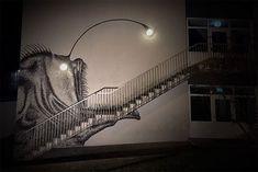 Street Artist Turns Boring Stairs Into Nightmarish Anglerfish | Bored Panda