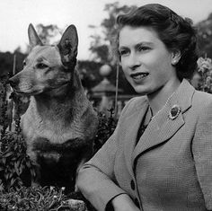 Queen Elizabeth with her first Corgi, Susan.