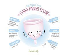 Ilustración de Pirusca sobre las ventajas de la copa menstrual
