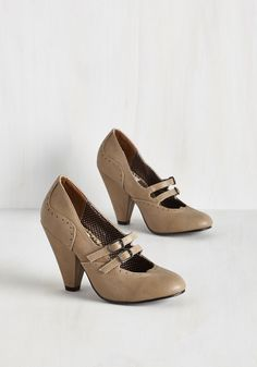 Follow Your Sweetheart Heel in Sand. Wherever the sweetheart-shaped toes of these beige pumps point, you and your passions go! #tan #modcloth
