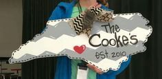 Wooden Door Hanger State / NC / Personalized door hanger / Craft Night Out located in Statesville Nc
