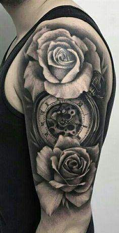 Rose Tattoos For Men, Black Rose Tattoos, Arm Tattoos For Guys, Trendy Tattoos, Atheist Tattoo, Pocket Watch Tattoo Design, Tattoo Bras Homme, Bio Organic Tattoo, Mens Shoulder Tattoo