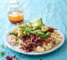 This biltong, feta and cucumber couscous is quick to make for weekday suppers and leftovers are great for lunchboxes. Biltong, Suppers, Budget Meals, Couscous, Easy Meals, Easy Recipes, Feta, Risotto, Potato Salad