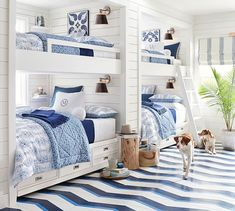 How much fun would this nautical inspired bunk room be for a lucky bunch of boys! House Bunk Bed, Bunk Bed Rooms, Bunk Beds Built In, Kids Bunk Beds, Built In Beds For Kids, Corner Bunk Beds, Beach House Bedroom, Beach House Decor, Home Bedroom