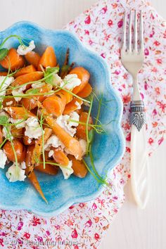 Roasted baby carrots with goat cheese
