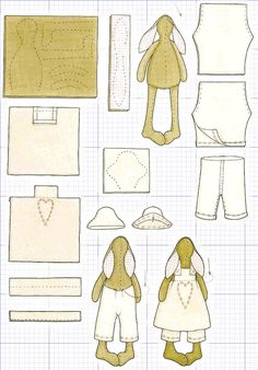 Pattern for rabbit and clothes: