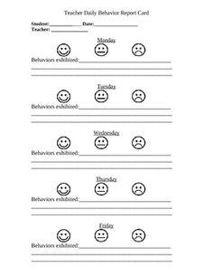 Weekly Behavior Sheet | Daily Behavior Sheet - Individual