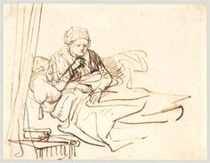 A Woman Sitting up in Bed - Rembrandt