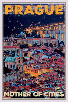 Vintage poster Prague Mother of City Affiche retro Music Poster, Poster Art, Poster Design, Life Poster, Poster Retro, Vintage Travel Posters, Tourism Poster, Travel Design, New Wall
