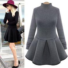 #womenfashion #popular #beautiful #new #cute Dresses For Sale, Nice Dresses, Casual Dresses, Fashion Dresses, Women's Fashion, Fashion Quotes, Long Sleeve Turtleneck Dress, Patchwork Dress, Winter Dresses