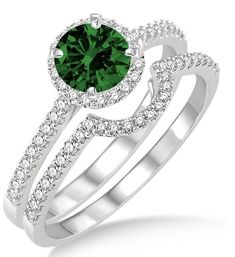 2 Carat Emerald & Diamond Halo Bridal Set Engagement Ring on 10k White Gold. The sparkle of Emerald Gemstone along with glittering diamonds in this beautiful Emerald and diamond engagement ring wedding set would make her fall in love. The inexpensive Emerald and diamond gemstone bridal ring would be an instant family haireloom. | Price: $629.00 USD on Shygems