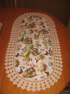 """Aunt Roo's Victorian/Vintage Easter Greetings table runner w/ crocheted edging (16-1/2"""" W X 32-1/2"""" L)..."""