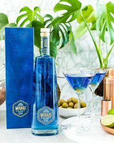 Mirari Blue Gin Vermouth Olive to garnish Blue Gin, Distillery, Martini, Vodka Bottle, Spices, Artisan, Drinks, Beverages, Spice