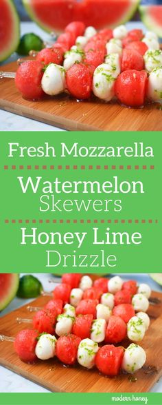 Fresh Mozzarella Watermelon Skewers with Honey Lime Drizzle. Round watermelon and fresh mozzarella balls and layered to make a kabob and drizzled with homemade honey lime sauce. A perfect appetizer or side dish for any BBQ or party. www.modernhoney.com Skewer Appetizers, Appetizers For Party, Appetizer Recipes, Skewer Recipes, Appetisers, Watermelon Appetizer, Watermelon Birthday, Fruit Kabobs, Gourmet